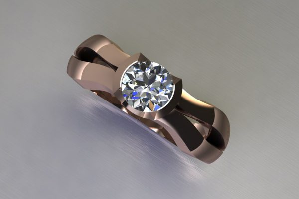 Round Brilliant Cut Diamond 18ct Red Gold Ring Design by Robert Feather Jewellery