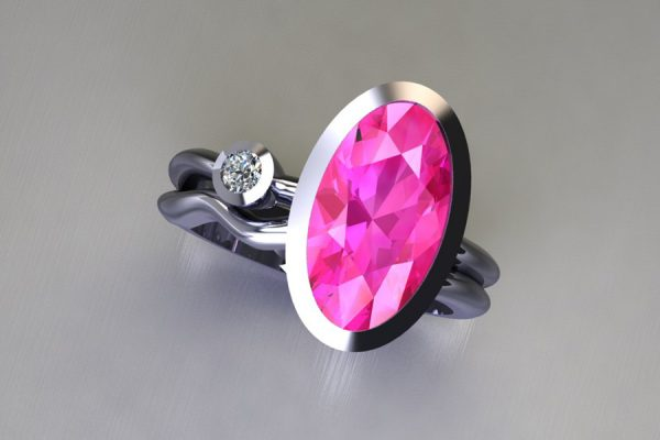 Oval Pink Sapphire & Round Brilliant Cut Diamond Platinum Ring Design by Robert Feather Jewellery