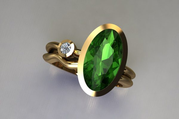 Oval Green Tourmaline & Round Brilliant Cut Diamond 18ct Yellow Gold Ring Design by Robert Feather Jewellery