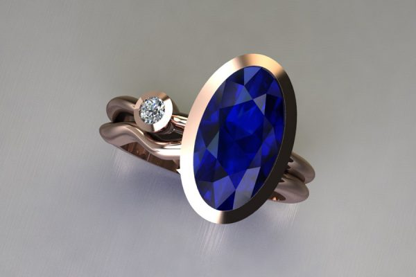 Oval Sapphire & Round Brilliant Cut Diamond 18ct Red Gold Ring Design by Robert Feather Jewellery