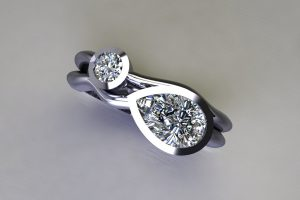 Pear Diamond & Round Brilliant Cut Diamond Platinum Ring Design by Robert Feather Jewellery