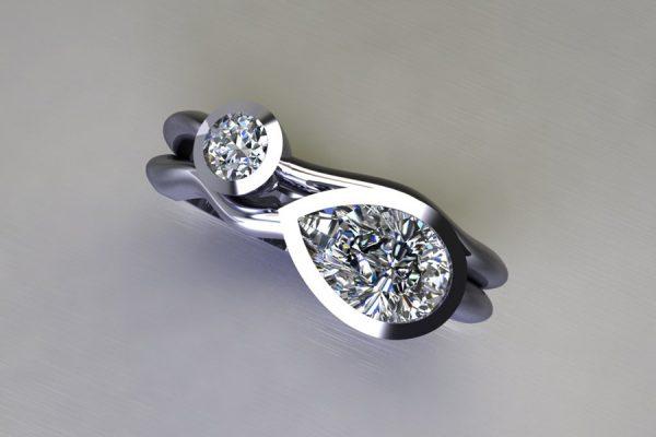 Pear Diamond & Round Brilliant Cut Diamond Platinum Ring Design by Robert Feather Jewellery