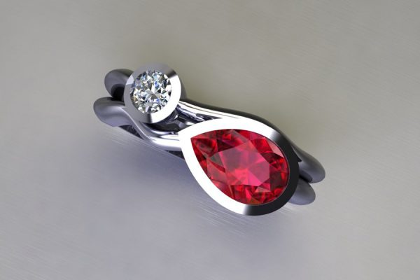 Pear Ruby & Round Brilliant Cut Diamond Platinum Ring Design by Robert Feather Jewellery