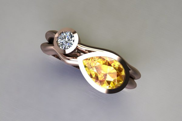 Pear Yellow Sapphire & Round Brilliant Cut Diamond 18ct Red Gold Ring Design by Robert Feather Jewellery