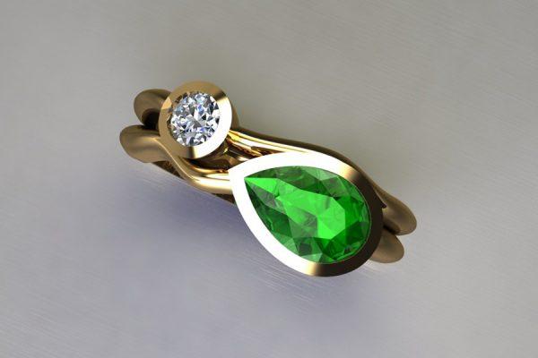Pear Tsavorite & Round Brilliant Cut Diamond 18ct Yellow Gold Ring Design by Robert Feather Jewellery