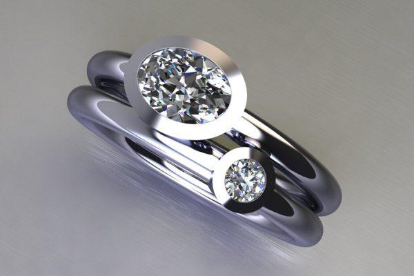 Oval & Round Brilliant Cut Diamond Platinum Ring Design by Robert Feather Jewellery