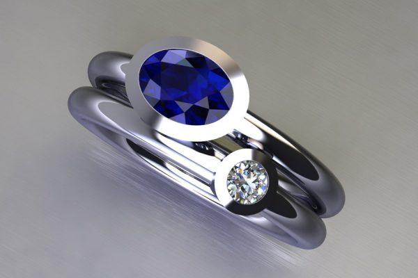 Oval Sapphire & Round Brilliant Cut Diamond Platinum Ring Design by Robert Feather Jewellery