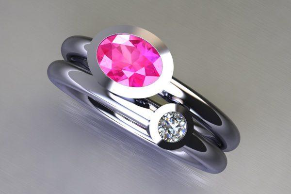 Oval Pink Sapphire & Round Brilliant Cut Diamond Platinum Ring Design by Robert Feather Jewellery