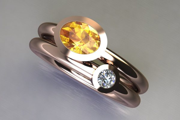 Oval Yellow Sapphire & Round Brilliant Cut Diamond 18ct Red Gold Ring Design by Robert Feather Jewellery