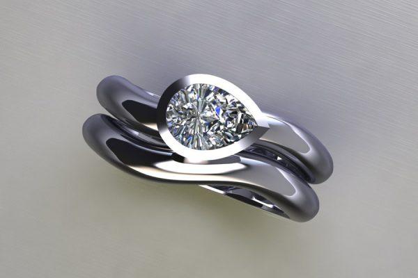 Pear Diamond Platinum Engagement & Wedding Ring Design by Robert Feather Jewellery