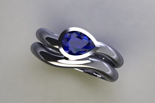 Pear Sapphire Platinum Engagement & Wedding Ring Design by Robert Feather Jewellery