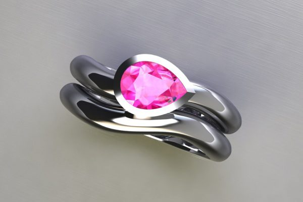 Pear Pink Sapphire White Gold Engagement & Wedding Ring Design by Robert Feather Jewellery