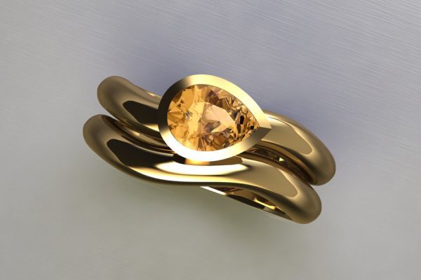Pear Orange Sapphire Yellow Gold Engagement & Wedding Ring Design by Robert Feather Jewellery