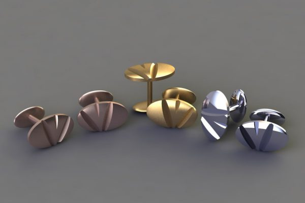 Red, Yellow & White Gold or Platinum Notch Oval Cufflink Design by Robert Feather Jewellery