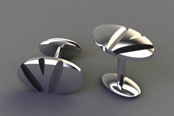 Silver Notch Oval Cufflink Design by Robert Feather Jewellery