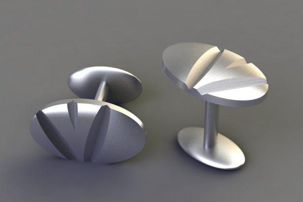Matt Silver Notch Oval Cufflink Design by Robert Feather Jewellery