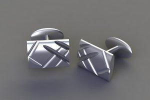 Silver Rectangular Flute Cufflink Design by Robert Feather Jewellery