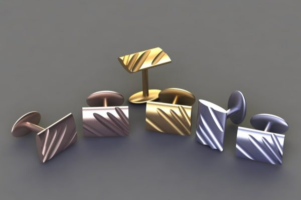 Red, Yellow & White Gold or Platinum Rectangular Flute Cufflink Design by Robert Feather Jewellery