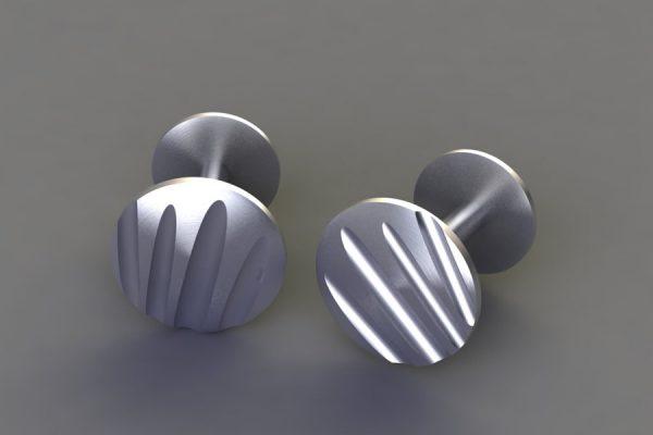 Matt Silver Round Flute Cufflink Design by Robert Feather Jewellery