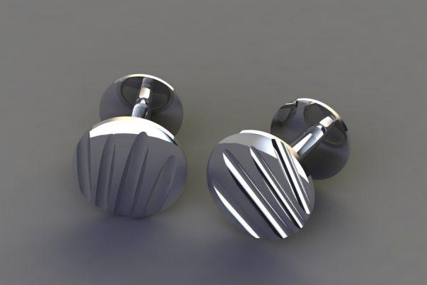 Silver Round Flute Cufflink Design by Robert Feather Jewellery