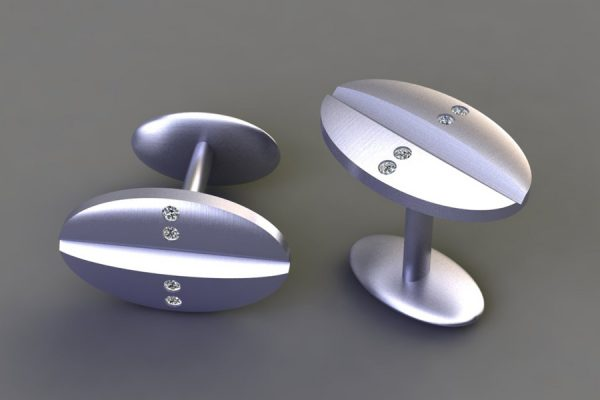 Diamond Set Platinum Oval Cufflink Design by Robert Feather Jewellery