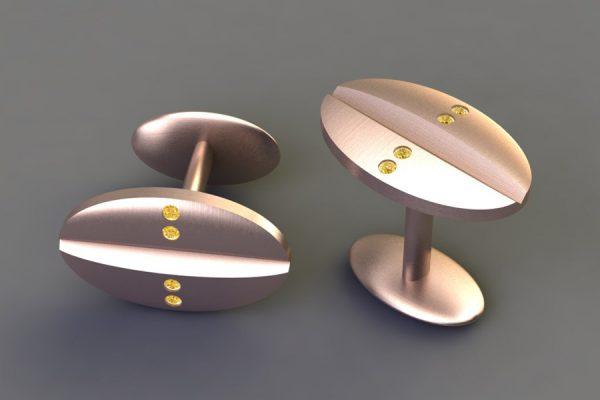 Yellow Diamond Set Red Gold Oval Cufflink Design by Robert Feather Jewellery