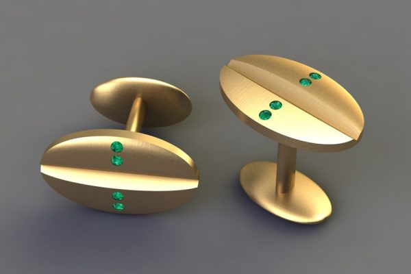 Emerald Set 18ct Yellow Gold Oval Cufflink Design by Robert Feather Jewellery