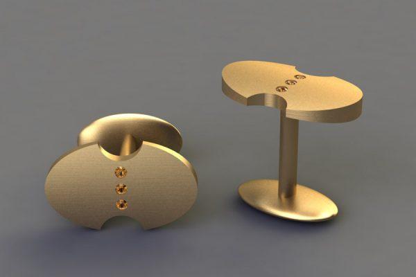 Orange Sapphire Set Yellow Gold Oval Cufflink Design by Robert Feather Jewellery