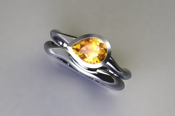 Pear Yellow Sapphire 18ct White Gold Engagement & Wedding Ring Design by Robert Feather Jewellery