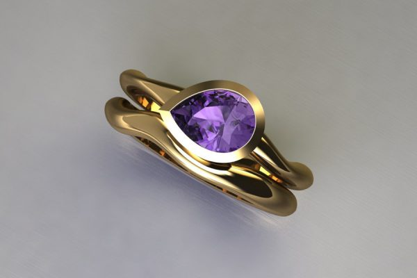 Pear Purple Sapphire Yellow Gold Engagement & Wedding Ring Design by Robert Feather Jewellery