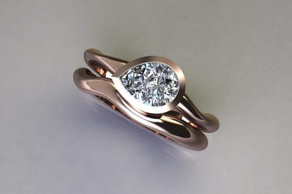 Pear Diamond Red Gold Engagement & Wedding Ring Design by Robert Feather Jewellery