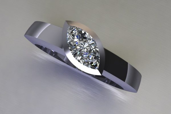 Marquise Cut Diamond Platinum Ring Design by Robert Feather Jewellery