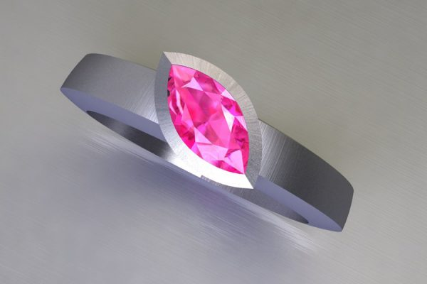 Marquise Cut Pink Sapphire Platinum Ring Design by Robert Feather Jewellery