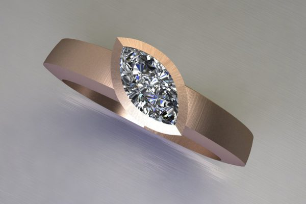 Marquise Cut Diamond 18ct Red Gold Ring Design by Robert Feather Jewellery