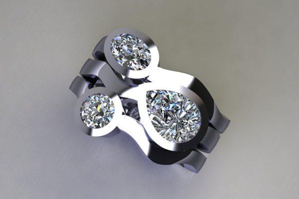 Mixed Threestone Diamond Platinum Ring Design by Robert Feather Jewellery