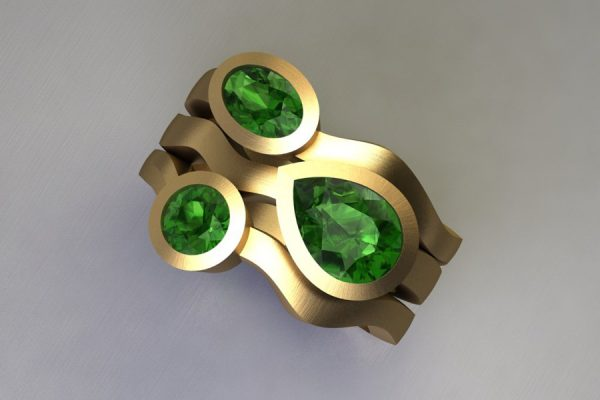 Mixed Threestone Green Tourmaline 18ct Yellow Gold Ring Design by Robert Feather Jewellery