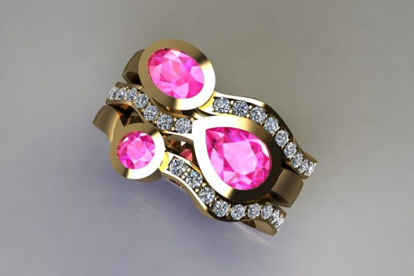 Three Stone Pink Sapphire & Diamond 18ct Yellow Gold Stacking Ring Design by Robert Feather Jewellery