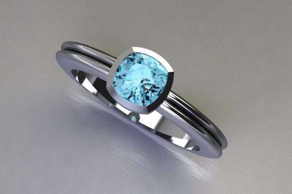 Cushion Cut Aquamarine White Gold Ring Design by Robert Feather jewellery