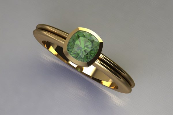 Cushion Cut Green Tourmaline Yellow Gold Ring Design by Robert Feather jewellery