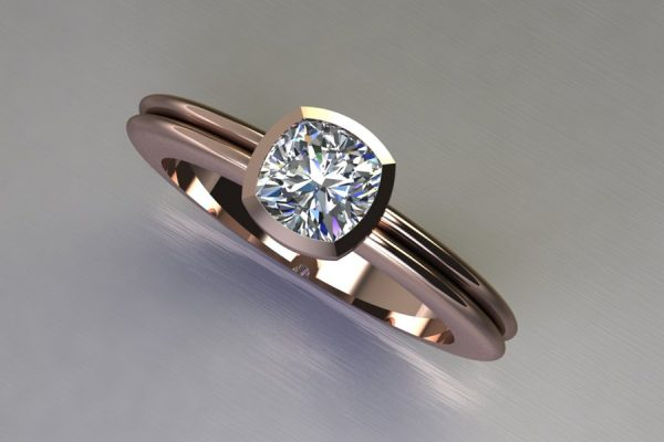 Cushion Cut Diamond Red Gold Ring Design by Robert Feather jewellery