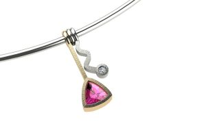 Wiggle Design Trillion Pink Sapphire & Diamond 18ct Gold Necklace by Robert Feather Jewellery