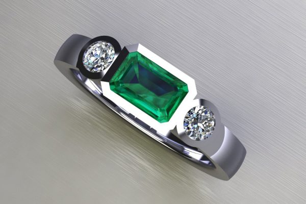 Three Stone Emerald & Round Brilliant Cut Diamond Platinum Ring Design by Robert Feather Jewellery
