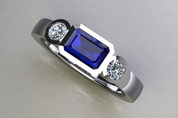 Three Stone Sapphire & Round Brilliant Cut Diamond White Gold Ring Design by Robert Feather Jewellery