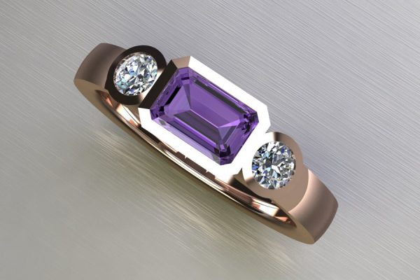 Three Stone Purple Sapphire & Round Brilliant Cut Diamond Red Gold Ring Design by Robert Feather Jewellery