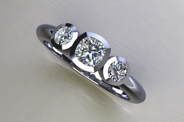 Three Stone Cushion Cut & Round Brilliant Cut Diamond Platinum Ring Design by Robert Feather Jewellery