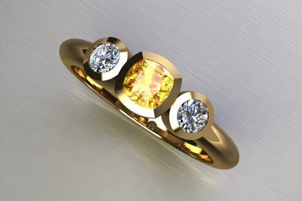 Three Stone Cushion Cut Yellow Sapphire & Round Brilliant Cut Diamond Yellow Gold Ring Design by Robert Feather Jewellery