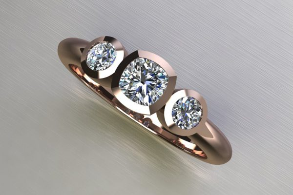 Three Stone Cushion Cut & Round Brilliant Cut Diamond Red Gold Ring Design by Robert Feather Jewellery