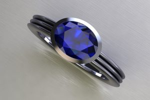 Oval Cut Blue Sapphire Platinum Ring Design by Robert Feather Jewellery