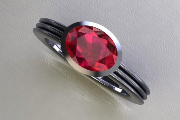 Oval Cut Ruby Platinum Ring Design by Robert Feather Jewellery
