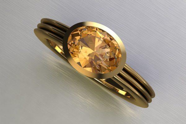 Oval Cut Orange Sapphire Yellow Gold Ring Design by Robert Feather Jewellery